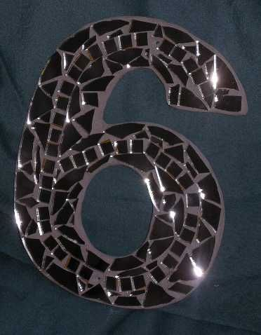 Mosaic-No6 - House number in mirror tiles