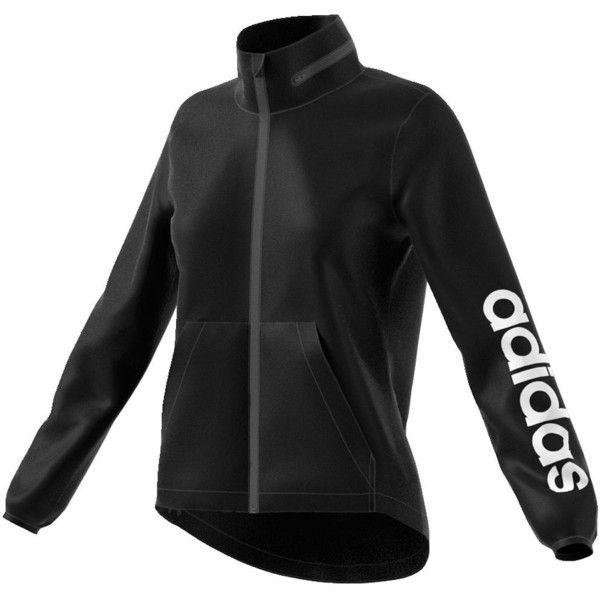 Women's Adidas Linear Windbreaker Jacket ($58) ❤ liked on Polyvore featuring activewear, activewear jackets, black, adidas activewear, adidas sportswear and adidas