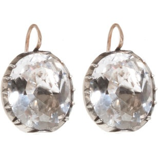 Antique Oval Rock Crystal Earrings