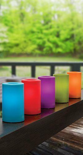 Fargeglade utelys i plastikk! Perfekt til uteselskap og fest!