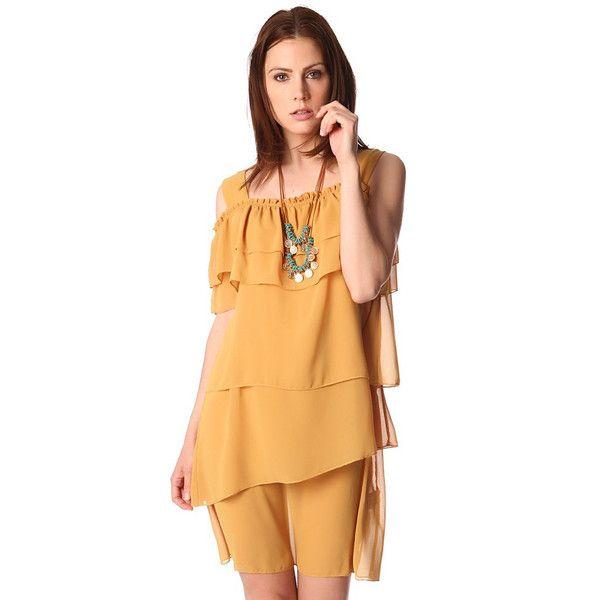 Multi layer mini dress in yellow - All My DIBS - 1