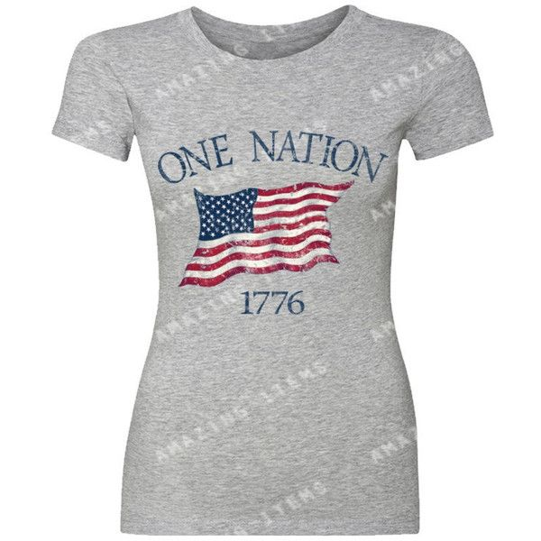 One Nation 1776 Usa Flag Women's T-Shirt 4th of July Shirts ($9.79) ❤ liked on Polyvore featuring tops, t-shirts, pink, women's clothing, t shirt, cotton t shirts, pink t shirt, tee-shirt and american t shirt