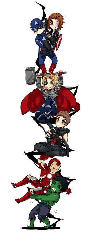 Mighty Cute Avengers: The Most Adorable Avengers Fan Art Ever! -- poor Hawkeye staring up and Natasha. --- Is that love in Iron Mans face?