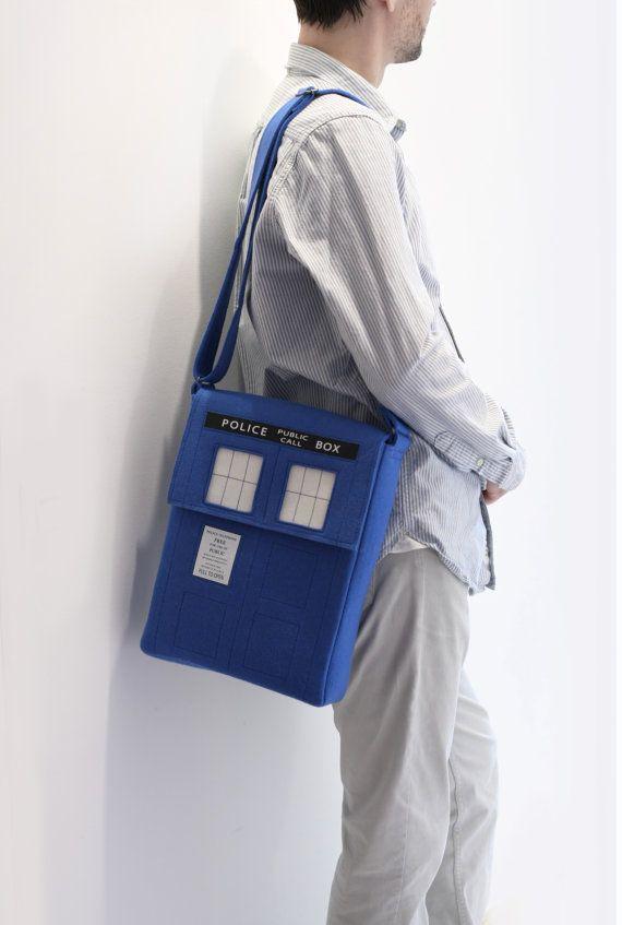Blue Tardis Felt Bag by krukrustudio on Etsy, $140.00
