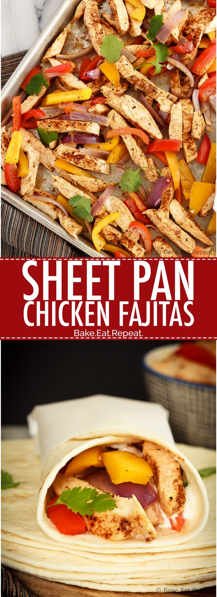 Sheet Pan Chicken Fajitas - Quick and easy chicken fajitas with just one sheet pan to clean afterwards!  This is my new favourite way to make one of my family's favourite meals!