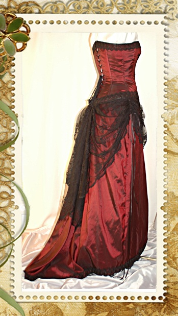 Burgundy and black Victorian inspired  gown