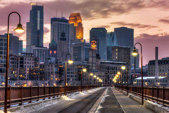 Minneapolis Canvas Stone Arch Bridge Wall Art Downtown