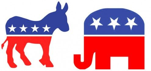 The symbols of the Democratic and Republican Parties illustrate my essay on politics, symbols, parties,--what they mean and what are their origins..