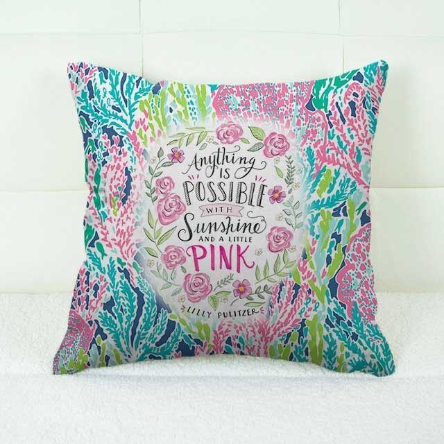 "Lilly Pulitzer Coral New Quote Custom Decorative Throw Pillow Case 18"" x 18"" #Handmade #pillowcase #pillowcover #cushioncase #cushioncover #best #new #trending #rare #hot #cheap #bestselling #bestquality #home #decor #bed #bedding #polyester #fashion #style #elegant #awesome #luxury #custom #lillypulitzer #quote #floral #flower #roses"