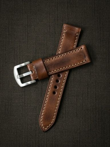 """Pair your watch with our handsome """"Lockheed"""" vintage inspired handcrafted leather watch strap."""