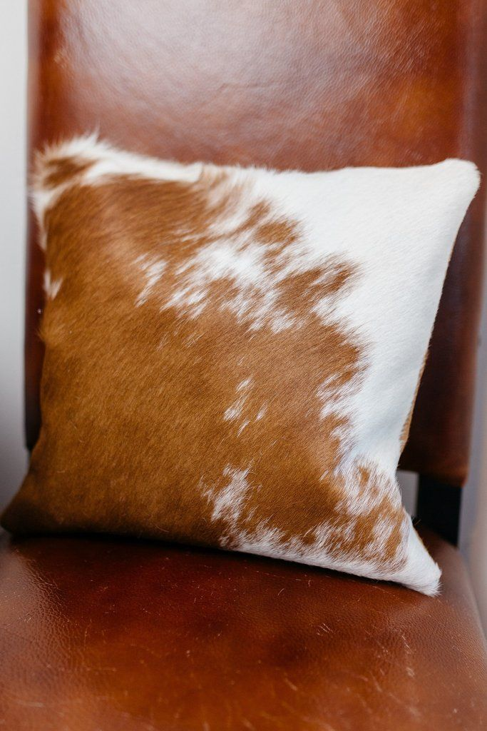 These gorgeous authentic cowhide pillows are sourced from tanneries in the South…