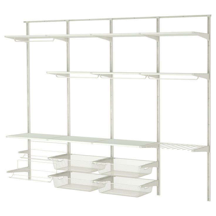 ALGOT Wall upright/rod/shoe organizer - IKEA- opt 2- remove shoe shelves for pants shelf. use higher hanging options and add another row of wire baskets.
