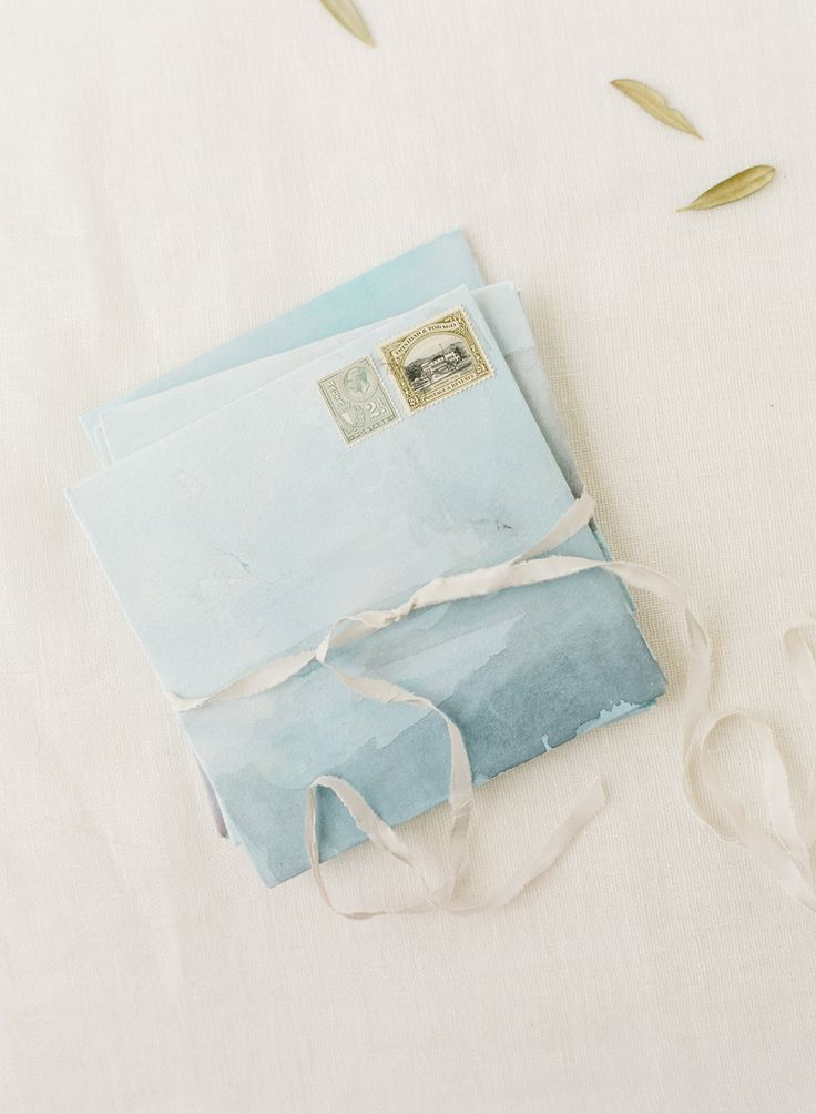 Handmade watercolor envelopes by September Letters