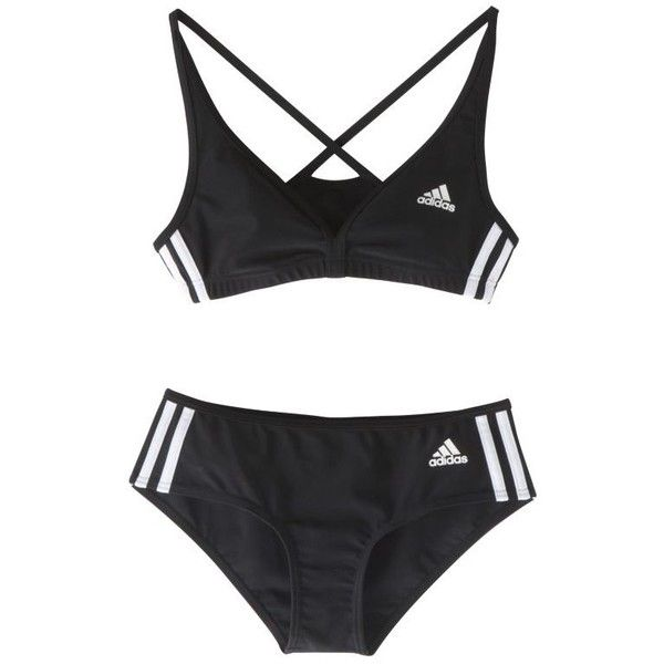 Adidas Authentic 2-Piece Bikini, Black (£12) ❤ liked on Polyvore featuring swimwear, bikinis, bikini tops, underwear, tops, lingerie, women's sports swimwear, sports bikini, sport bikini and 2 piece bikini
