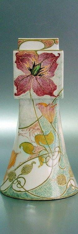 Rozenburg, Den Haag, R. Sterken, 1904: an eggshell porcelain vase, model 234, floral decoration.
