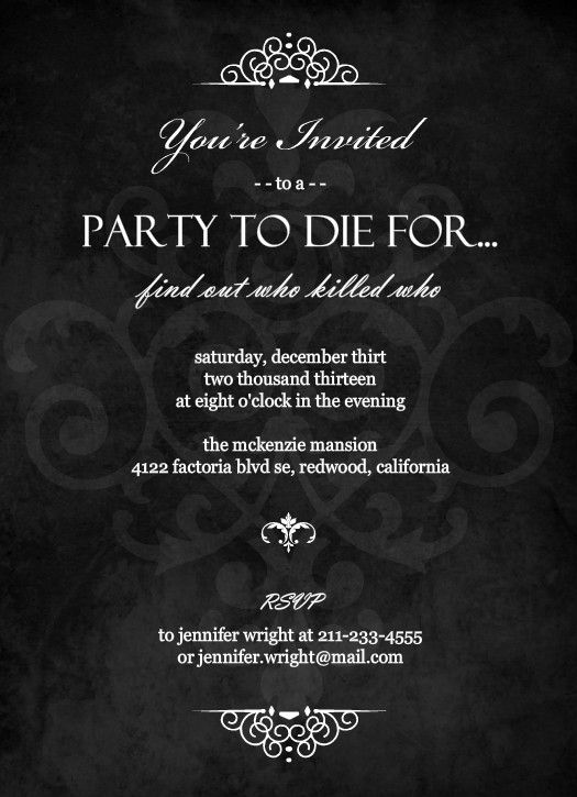 murder mystery ideas. Murder Mystery Black Dinner Party Invitation by PurpleTrail.com.