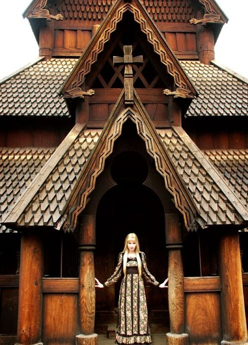 "The highly unusual ancient building in Scandinavia. ""Stave Church in Norway, built in the late 1100's.  When the Vikings became Christians, they built Churches like this one, over 1,000 of them."""