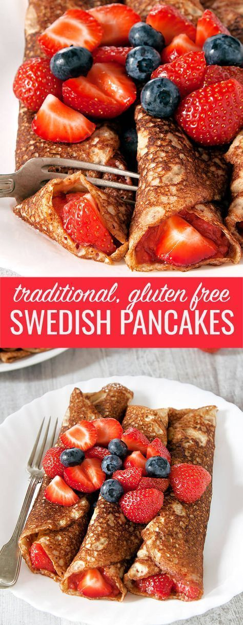 Traditional Swedish pancakes are like a cross between American pancakes and French crêpes. So easy, and perfect for any meal! #glutenfreerecipes #glutenfree #glutenfreebreakfast