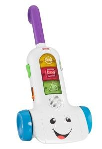 Fisher-Price Laugh and Learn Smart Stages Vacuum Your child will love imitating you at this age. Having him or her help vacuuming with his/her own vacuum will be loads of fun.  It has 30+ sing-along songs, tunes & phrases. http://bit.ly/13qBfm6