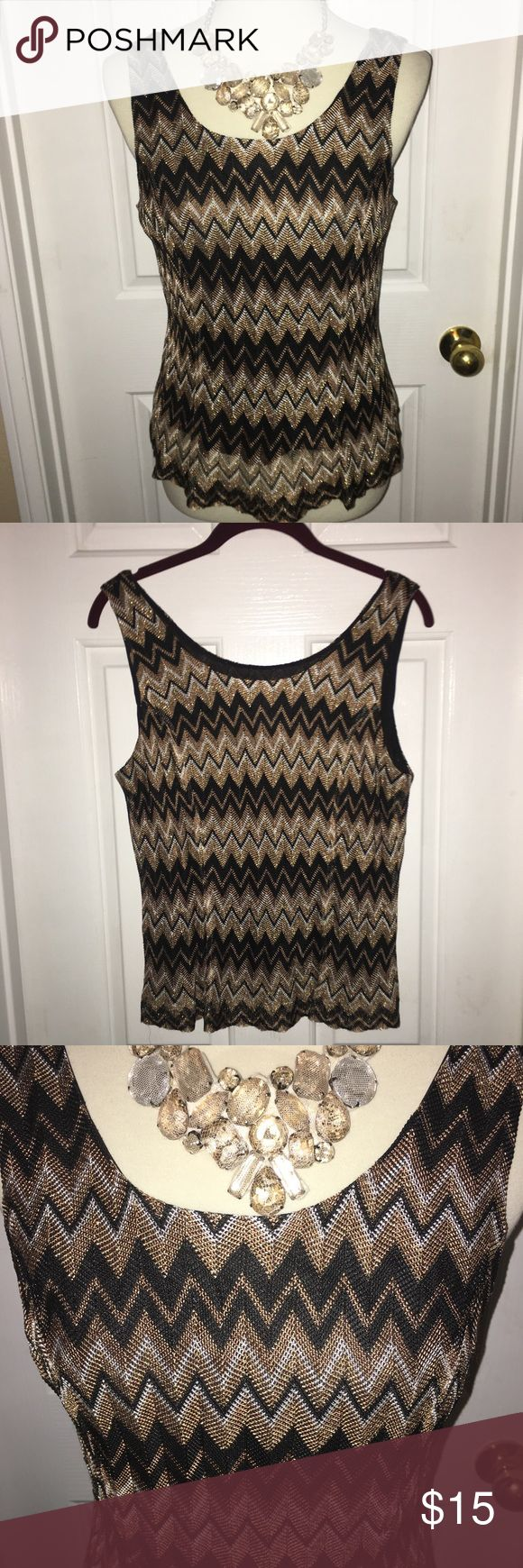 KASPER PETITE MESH TANK TOP GUC wore once. Festive gold and black to dress up for a night out or layer for office. Mesh like material and fully lined. Says dry clean but hand washed nicely. Bundle item. Kasper Tops Tank Tops