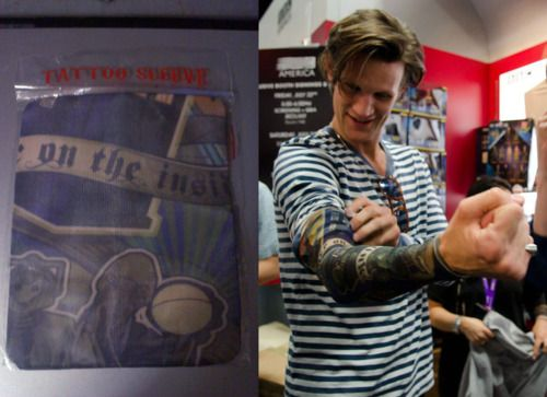 I'm not quite sure how to decipher a fake Doctor Who tattoo sleeve, but somehow having Matt Smith wear it makes me feel better.