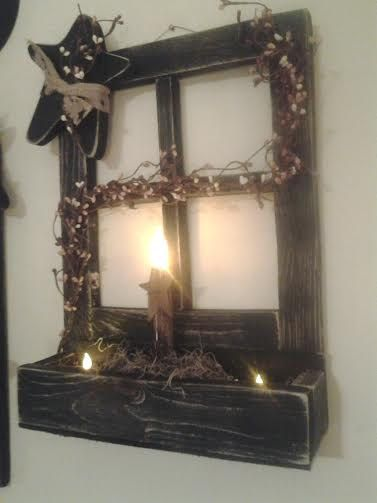 Primitive Distressed Window with Box, Candles, Primitive star with burlap and berries: