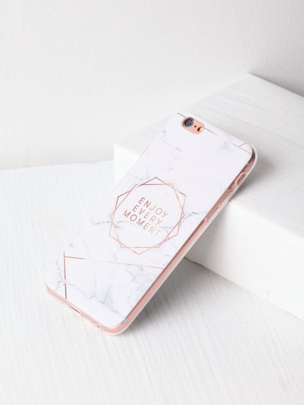 96cf869e7f Marble Pattern With Letter Print iPhone Case -SheIn(Sheinside ...