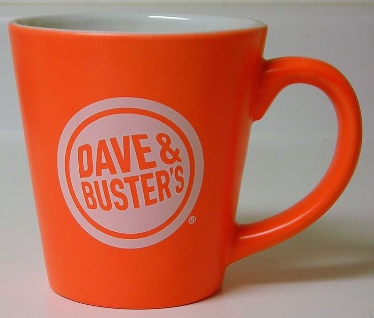 Dave & Buster's Bright Orange Coffee Cup Collectible Mug - Rare Color 10 Ounce #DaveBusters