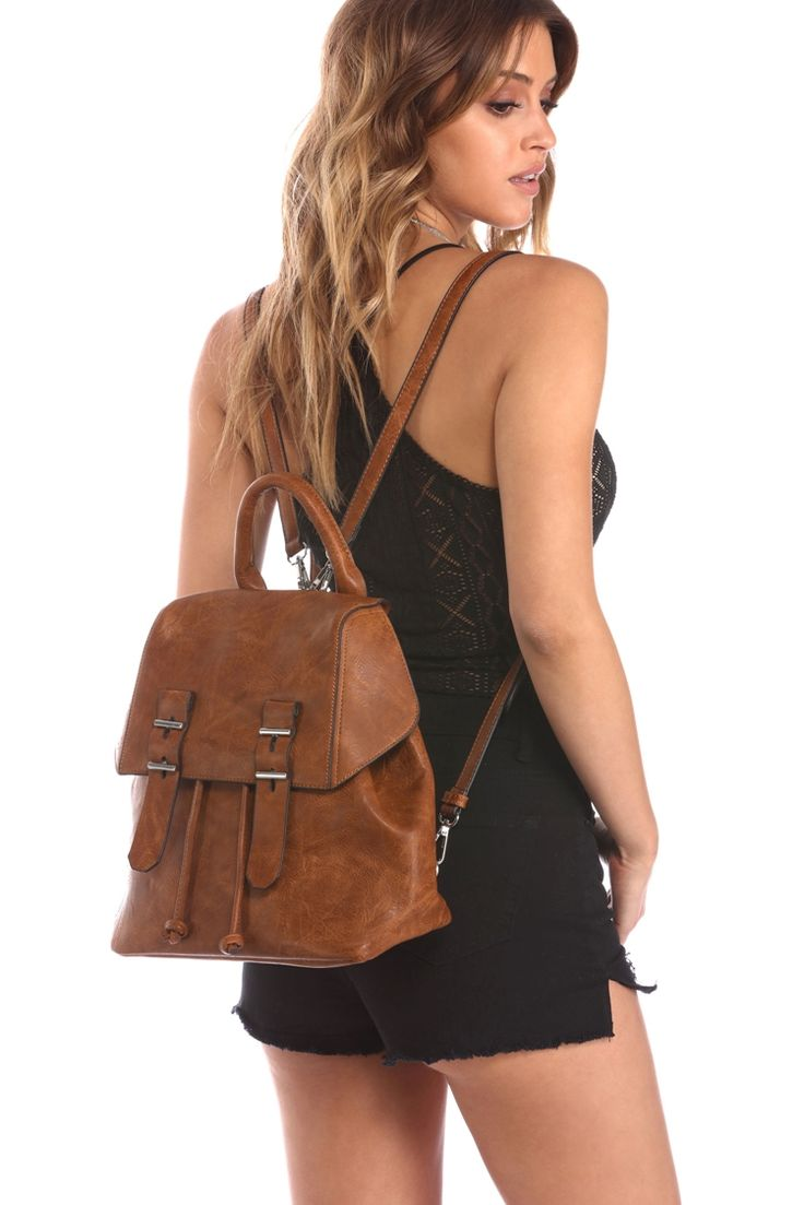 Brown Double Buckle Festival Backpack