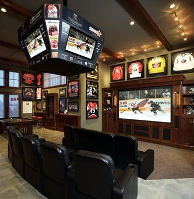 Craftsman Game Room with Exposed beam, Can lighting, Track lighting, travertine tile floors