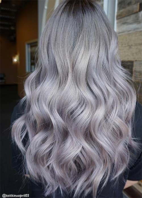 Granny Silver/ Grey Hair Color Ideas: Pearl Lilac Silver Hair
