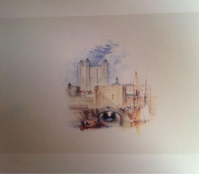 逆賊門、ロンドン塔(サミュエル・ロジャースの「詩集」のための挿絵) 1830-32年頃 /ターナー(英)