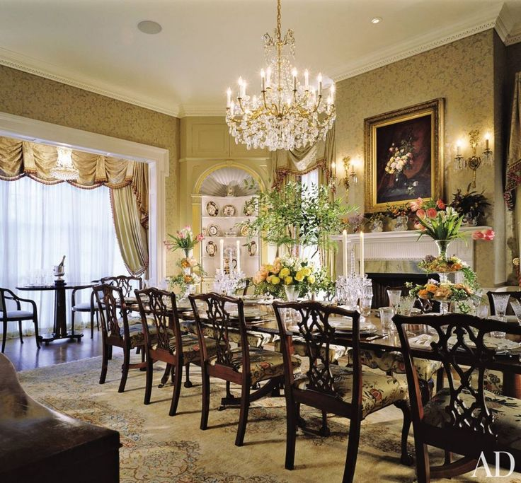 The Dining Room Of Roy And Mary Cullens Late Georgian Style House In Houston