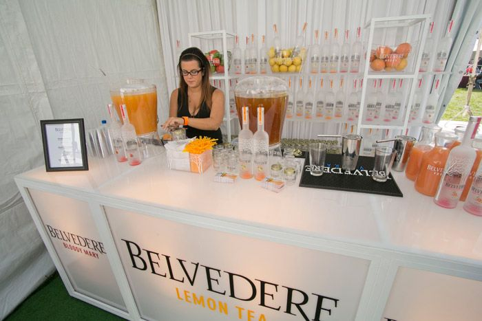 Belvedere vodka's sleek tent had an illuminated bar and billowing white drapes. Fresh citrus fruits were displayed to highlight the brand's vodka flavors.