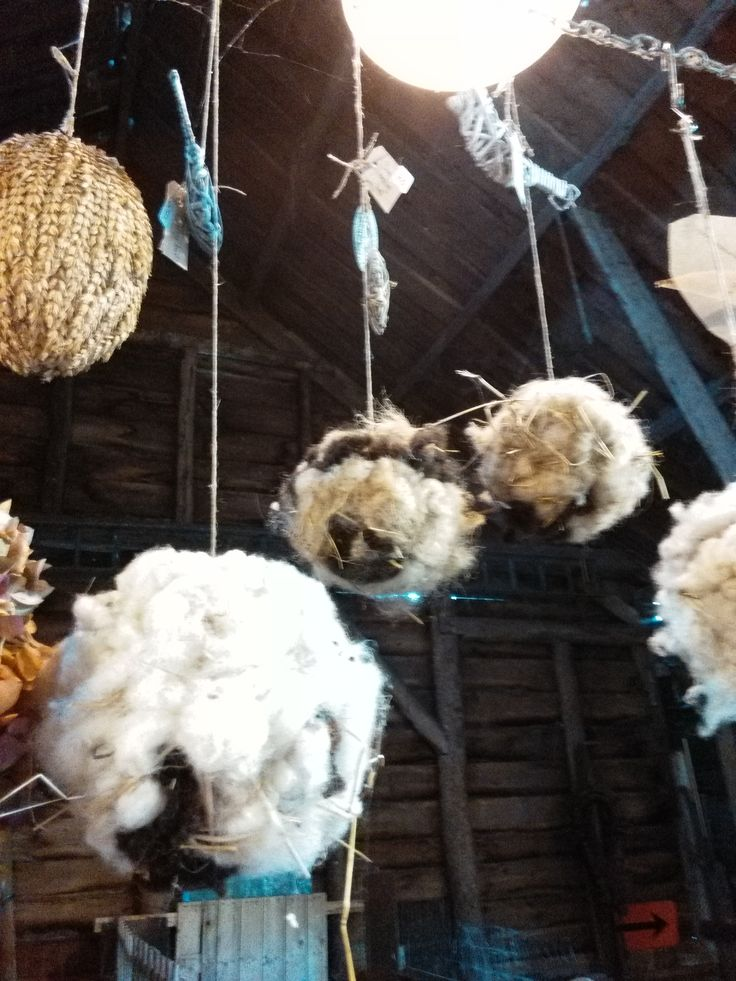 bollen van takken met schapenwol. Leuk voor de vogels om nestjes te maken en decoratief