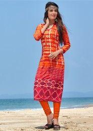 Casual Wear Cotton Orange Embroidered Work Kurti