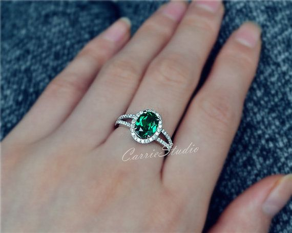 Gorgeous Oval Emerald Ring Emerald Engagement by CarrieStudio