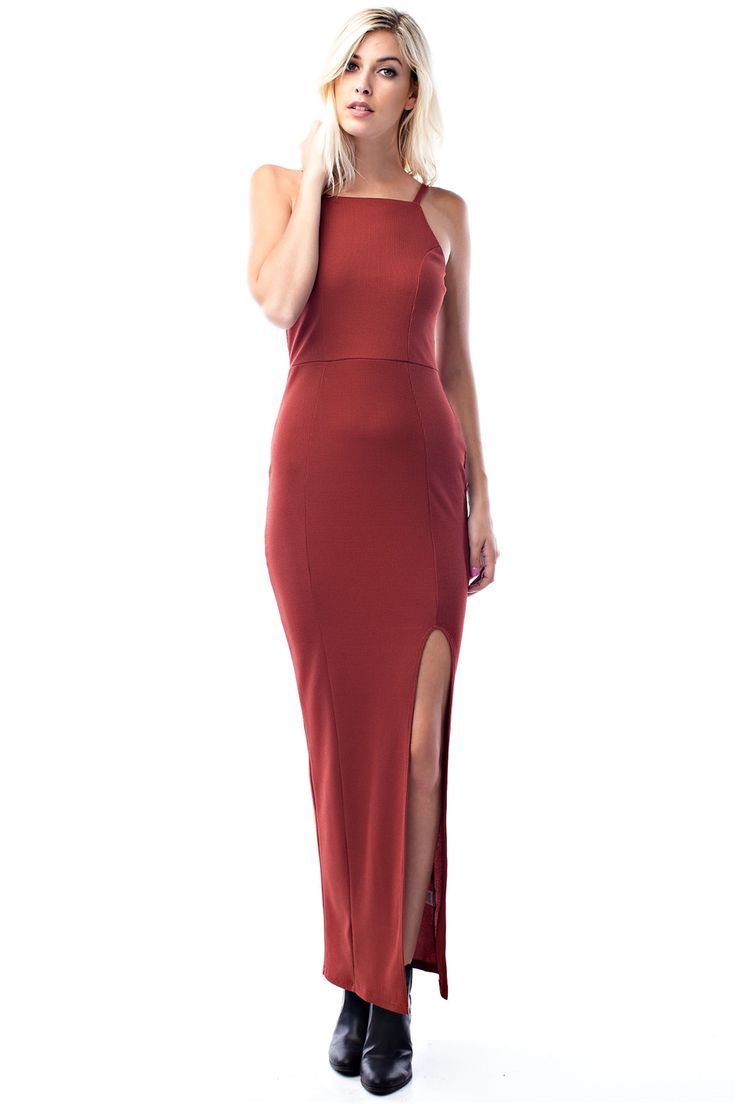 Brick High Slit Maxi Dress