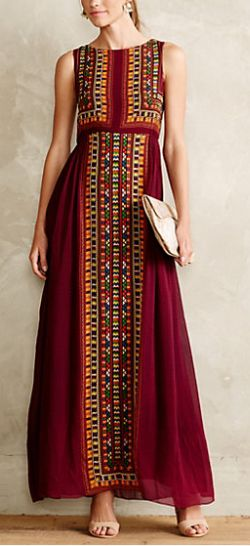 "LOVE this Dress!! -- ""Bajwa Maxi Dress""  -- TO-DO: Find out Where I can Purchase Embroidered Fabric Panels?!! = To Make this Dress for Myself & Lily..."