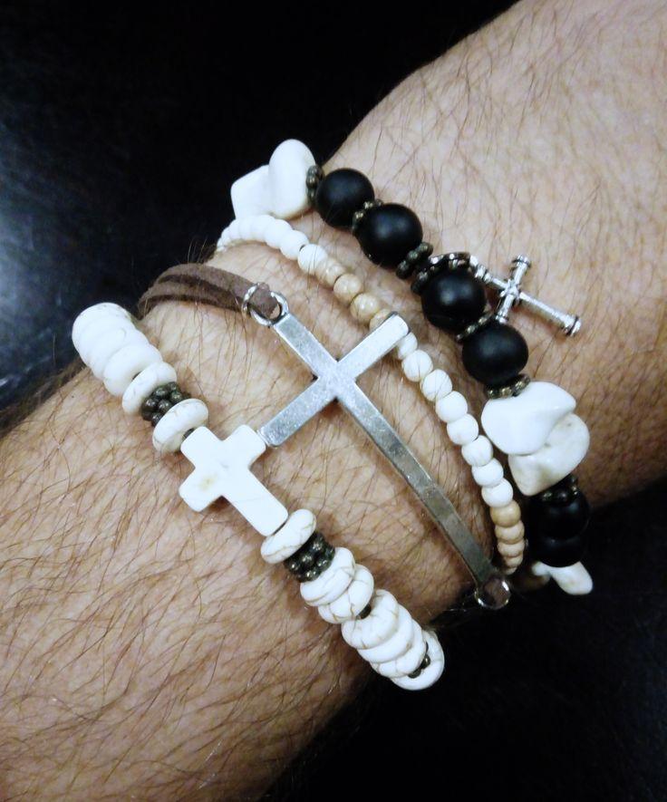 Men's beaded/leather bracelet
