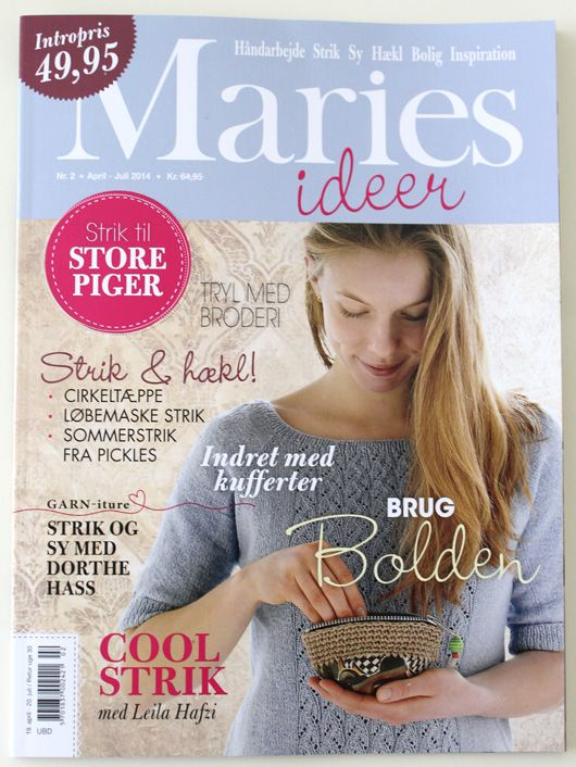 Garn-iture knit design on the frontpage cover of MARIES IDEER no 2 2014