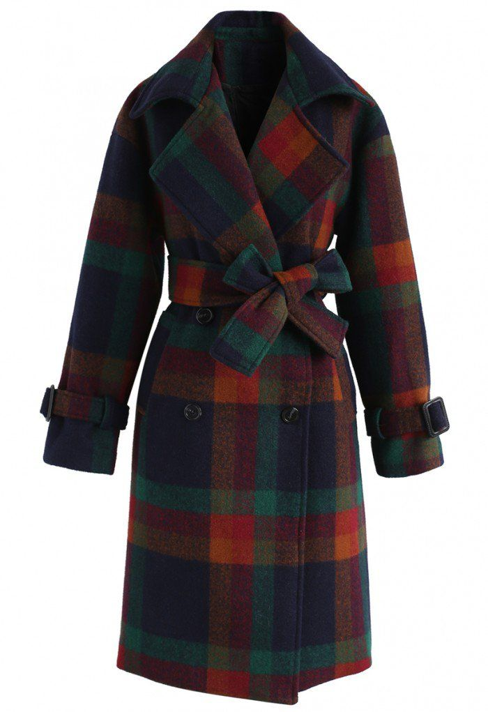 Commander in Chic Checked Wool-Blend Coat  - New Arrivals - Retro, Indie and Unique Fashion