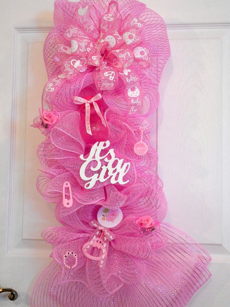 17 best images about welcome baby swags on pinterest for Baby girl hospital door decoration