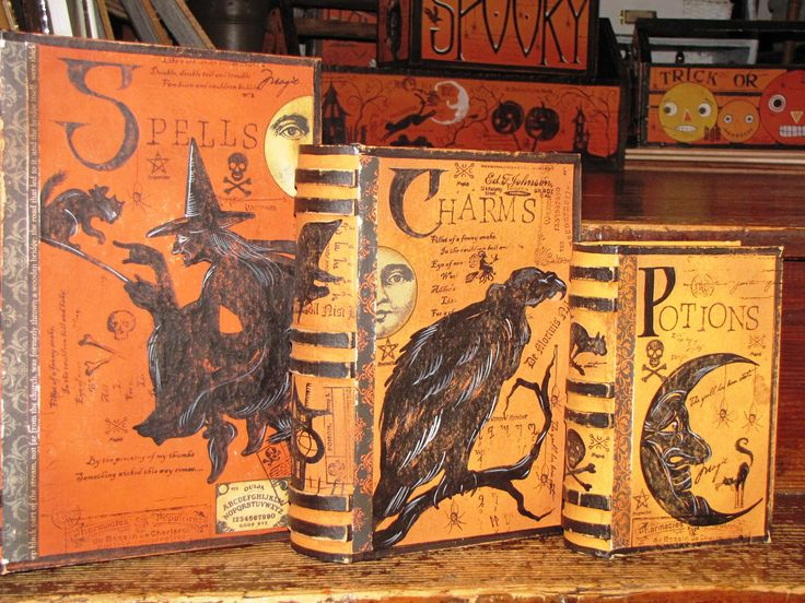 Need to figure out these enchanting spell books: Halloween Book, Halloween Stuff, Witch Book, Halloween Costumes, Halloween Witch, Book Boxes, Paper Mache, Halloween Altered Art Book, Spelling Book
