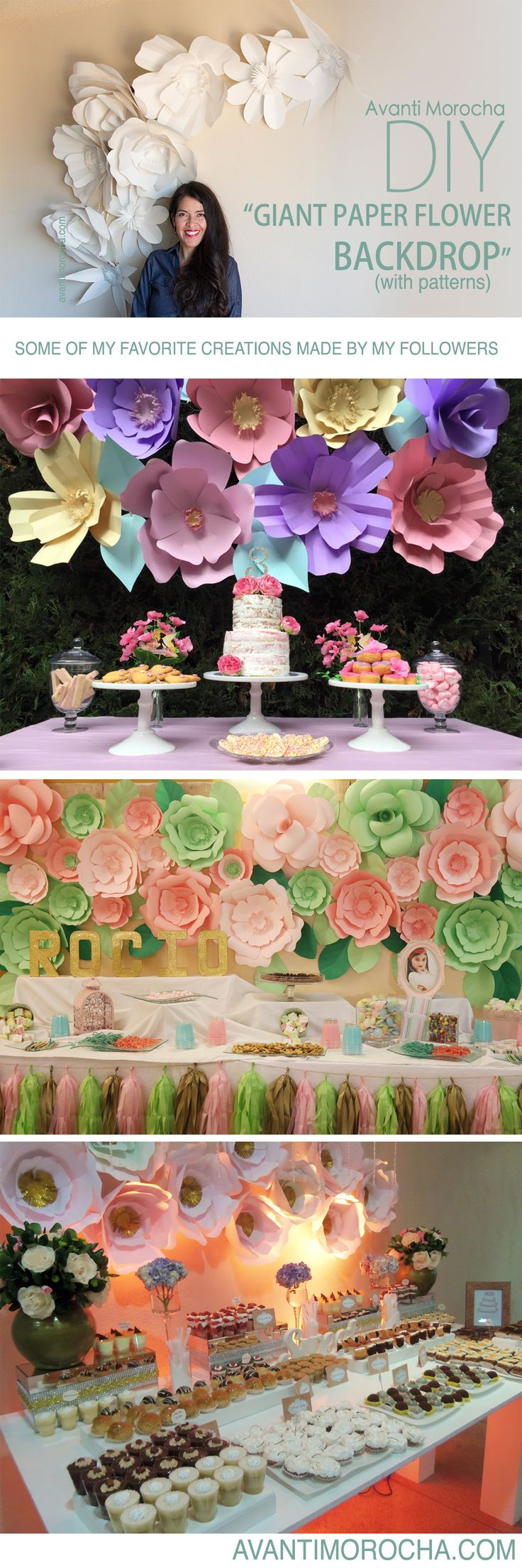 """DIY """" Giant Paper Flower Backdrop"""" Weddings, event decor. Download the flowers templates for free on avantimorocha.com / Please don't forget to share your creations on my Facebook page https://www.facebook.com/La... or tag me on Instagram @avantimorocha_1 I'd love to see them :)"""