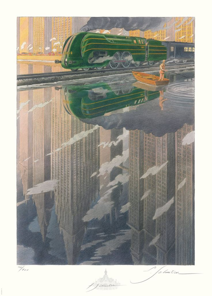 """La Type 12 - Reflet  [La Type 12 - Reflet by François Schuiten] Year2015Typeoffset (quadri) printSize70x50cmCommentsThe prints are made on """"Modigliani Insize Neve 270gr"""" paper and printed in an edition of 500 copies. Only 100 copies will be numbered and signed by François Schuiten. The print is published by"""