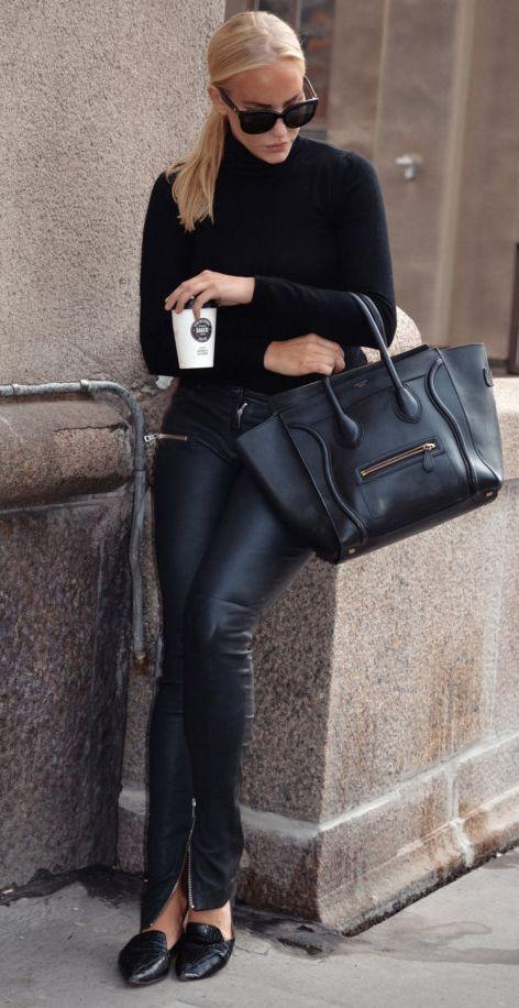 turtleneck sweater + leather