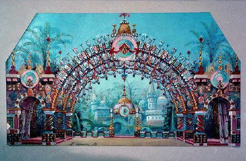 コンスタンチン・イワノフによる初演の舞台装置スケッチ(第2幕) Nutcracker set designs - くるみ割り人形 - Wikipedia