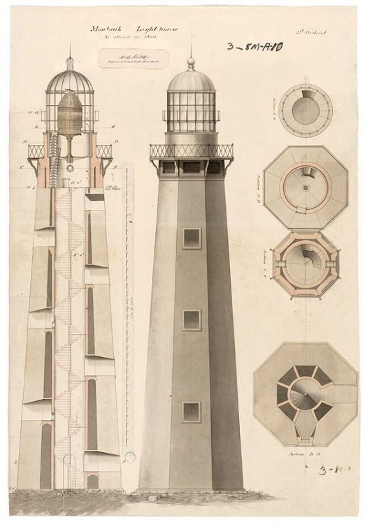 29 best lighthouse plans images on pinterest light house framed illustration from the records of us coast guard us national archives lighthouse at montauk malvernweather Choice Image