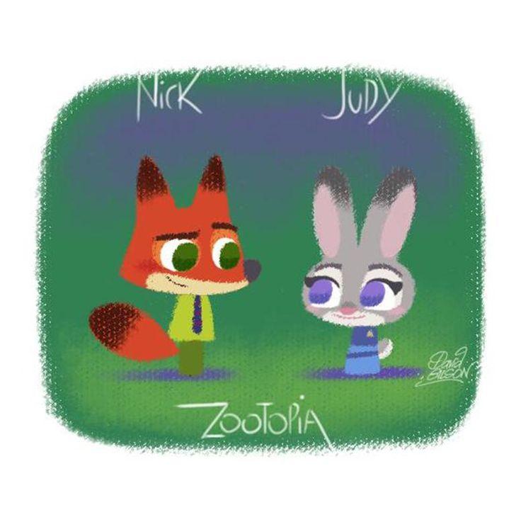 David Gilson art: #Zootopia 's #Nick & #Hopps ! So cute! Great color use! #disney @DisneyAnimation @LePrinceKido